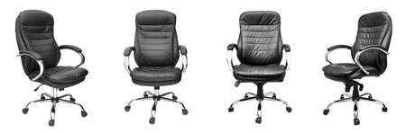 Assorted set of black leather office chairs isolated on white background.