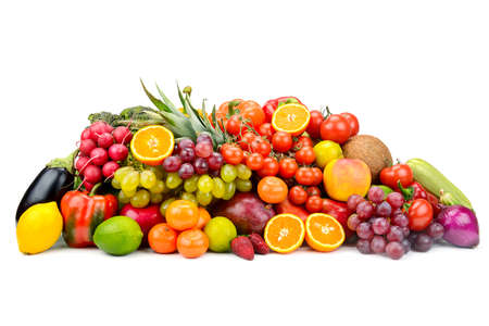 Collection multi-colored useful vegetables, fruits and berries isolated on white background. Free space for text.