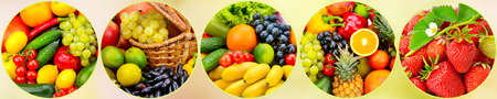 Panorama fresh fruits and vegetables in round frame on light blurred background.