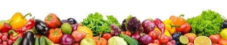 Colección panorámica de frutas y verduras frescas para skinali aislado sobre fondo blanco. Copia espacio Foto de archivo