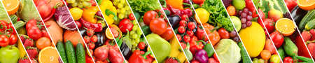 Panoramic collection fresh fruits and vegetables separated oblique stripes. Stock fotó