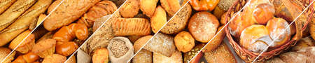 Panoramic set of fresh bread products. Wide format. Archivio Fotografico - 100713210