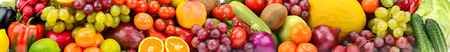Panoramic photo healthy vegetables, fruits and berries. Agricultural background. 写真素材