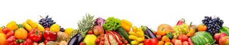 Amplio collage de frutas y verduras frescas para diseño aislado sobre fondo blanco. Copia espacio Foto de archivo