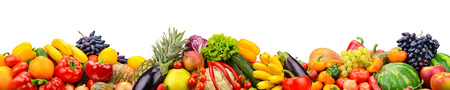 Wide collage of fresh fruits and vegetables for layout isolated on white background. Copy space Reklamní fotografie