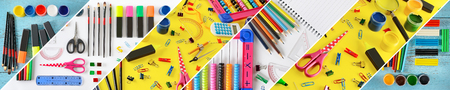 Wide collage stationery  school supplies separated inclined lines