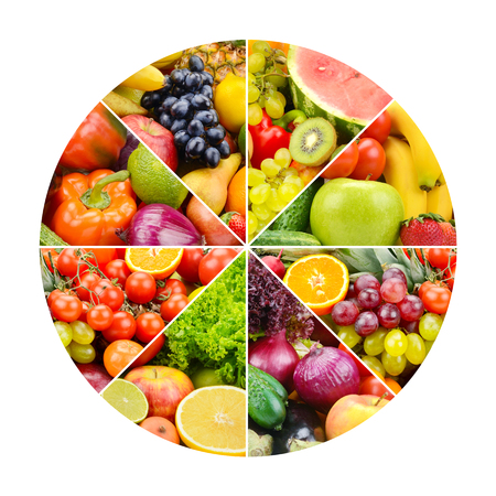 Bright fruits and vegetables in round frame on white background. Zdjęcie Seryjne