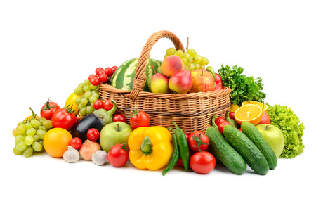 Fresh vegetables and fruits isolated on white background Zdjęcie Seryjne