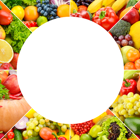 Square frame fruits and vegetables separated lines isolated on white background. Zdjęcie Seryjne