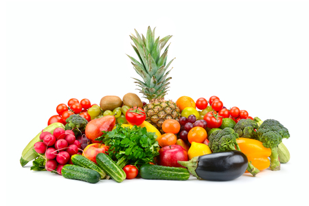 Large set fruits and vegetables with pineapple in center isolated on white