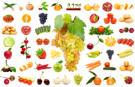 Large set vegetables and fruits isolated on white background. Collage natural products.