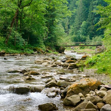 Wooden bridge in mountain river. Carpathian landscape.