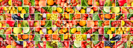 Wide background fruits and vegetables separated vertical and horizontal lines in form brick wall.