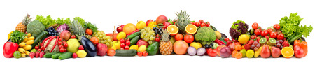 Composition variety fresh fruits and vegetables isolated on white background. Glass skinali. Zdjęcie Seryjne