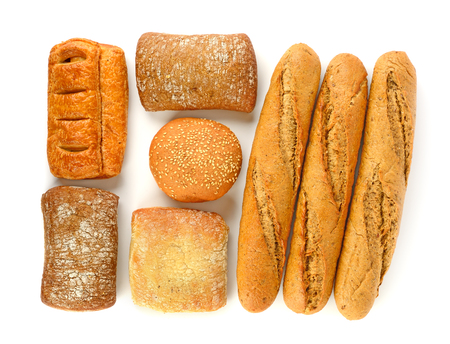 Top view on baked goods isolated on white background