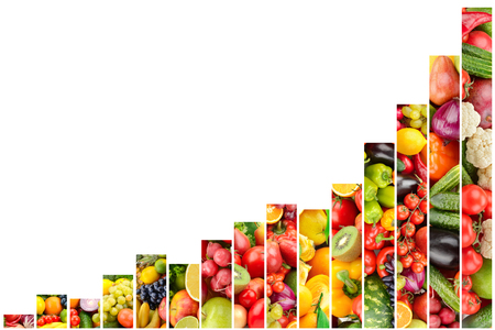 Fruits and vegetables growth concept isolated on white background