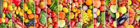 Wide panoramic collage vegetables, fruits and berries separated vertical lines