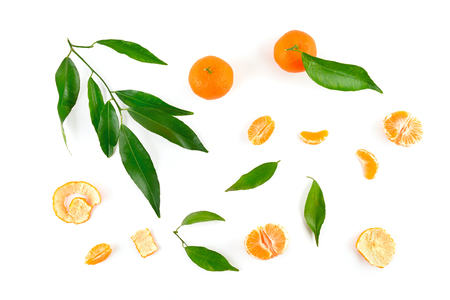 Mandarin fruit, leaves, peel isolated on white