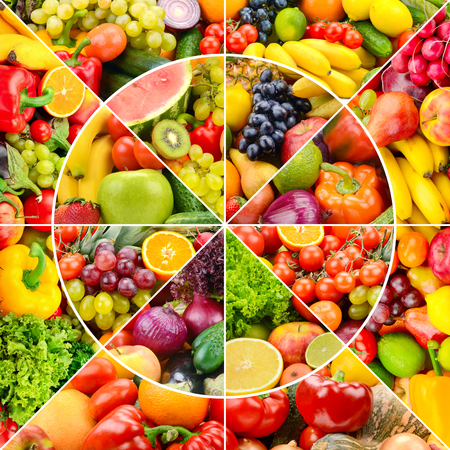 Bright fresh fruits and vegetables in round frame