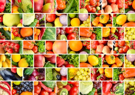 Fruits, vegetables and berries separated vertical and horizontal lines in form brick wall