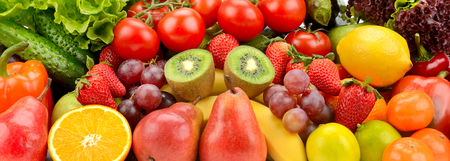 Variety natural delicious fruits and vegetables.