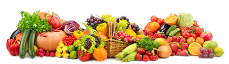 Collection fresh fruits and vegetables useful for health isolated on white