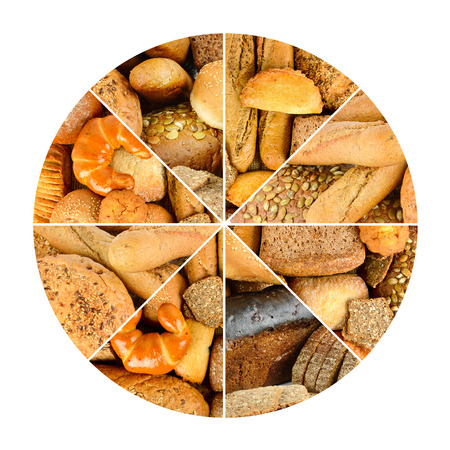 Fresh bread products in circle isolated on white