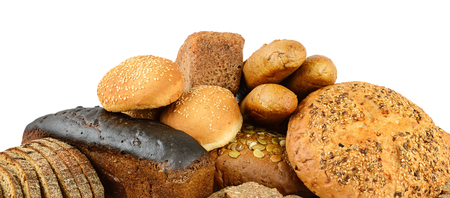 Bread and baked goods isolated on white. Side view.
