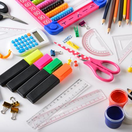 Set school supplies on white