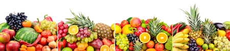 Panoramic of bright fresh vegetables, fruits, berries isolated on white