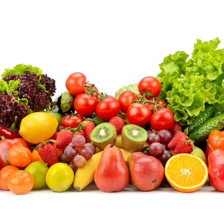 Fresh tasty vegetables, fruits and berries isolated on white