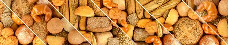 Panoramic set fresh bread products. Wide format. Top view
