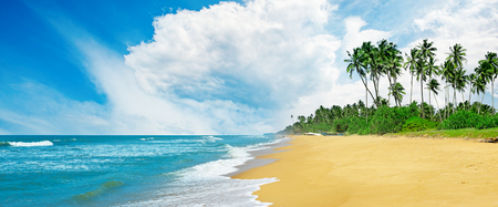 Panoramic tropical seascape with blue sky and yellow sand. Sea background Zdjęcie Seryjne