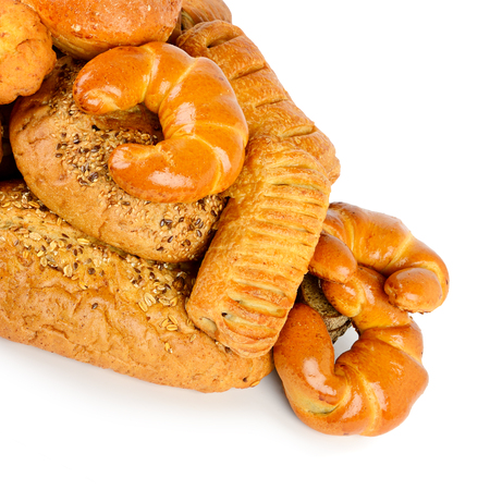 Bread, buns, croissants isolated on white background Zdjęcie Seryjne