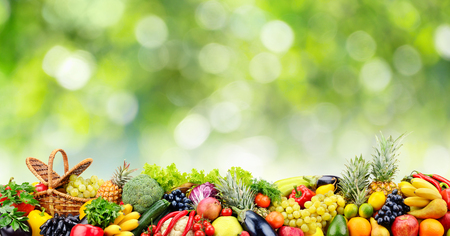 Fruits, vegetables, berries on green natural blurred background. Copy space