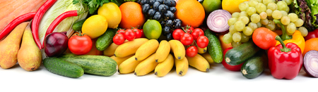 Ripe fruits and vegetables isolated on white background