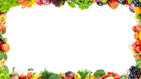 Fruits and vegetables frame on white