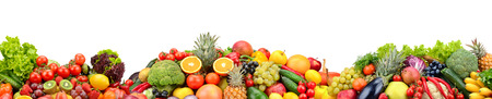 Composition fresh fruits and vegetables isolated on white Zdjęcie Seryjne
