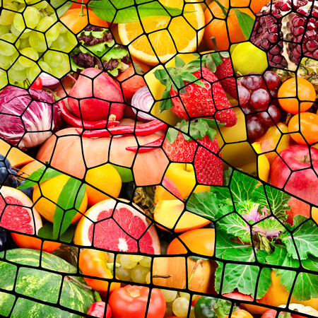 Collage fruits and vegetables in frame in form dragonfly wing Zdjęcie Seryjne