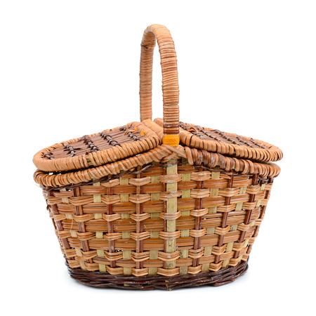Willow empty picnic basket isolated on white Zdjęcie Seryjne