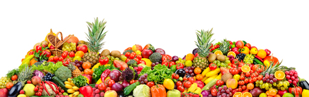 Big pile fruits and vegetables isolated on white background.