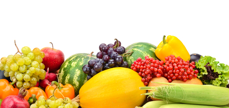 Composition fresh ripe fruits and vegetables isolated on white. Free space for text.