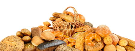 pile bread products isolated against white background Zdjęcie Seryjne