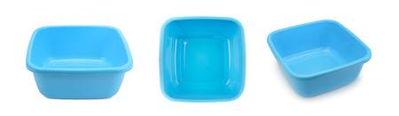 Set blue plastic wash bowl isolated on white