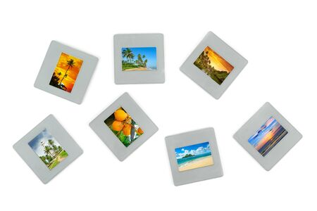 Collection slides with seascapes isolated on white background. Photos in collage are my property.