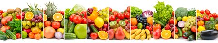 Vegetarian fruits and vegetables separated by vertical lines. Isolated on white. 版權商用圖片