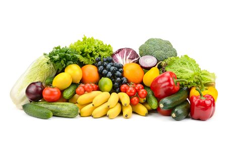Different multi-colored healthy fruits and vegetables isolated on white background.