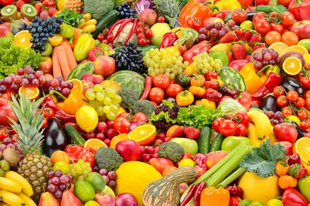 Bright background for backdrop healthy fruits and vegetables. Big size. Imagens