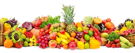 Seamless horizontal pattern colorful vegetables and fruits isolated on white 免版税图像