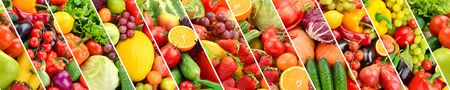 Seamless horizontal pattern bright multi-colored vegetables and fruits separated sloping vertical lines.
